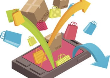 Vector illustration, visualization of online shopping via mobile phone. EPS8 format. Ai, cdr, hi-res jpg and hi resolution png with transparent background included.