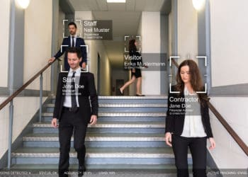 Businesspeople With Different Fields Walking In Office Premise Identified By Intellectual Learning System