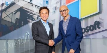 Park Jung Ho, CEO of SK Telecom (left), and Satya Nadella, CEO of Microsoft (right). PHOTO from SK Telecom