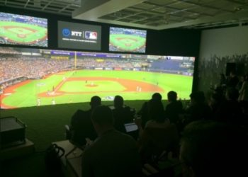 Invited guests watched the live game from the MLB studio through NTT's URV technology.