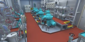 A virtual environment based on a digital twin of a crude oil tanker developed by Kanda to simulate a Lock Out Tag Out safety procedure