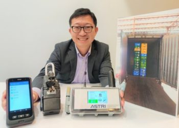 ASTRI's Ricky Leung with the Next Generation Cold Food Import Safety Management Platform, which enables users to control the electronic lock (middle) through the mobile app (left). Truck drivers can make use of the tablet (right) to access information, such as temperature and location of the container, in real time.