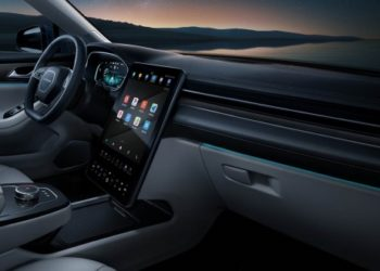 The cockpit of the Huawei SERES SF5 smart car.