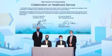 (L-R standing) Donald Choi, executive director and CEO of Chinachem Group, and Dr. Otto Poon, chairman of ATAL Engineering Group witnessed the signing of the latest MOU between their two companies. (L-R seated) Hung Han Wong, executive director and COO of Chinachem Group, and Victor Law, managing director of ATAL Engineering Group signed the document marking the two companies collaboration in healthcare facilities management in Hong Kong.