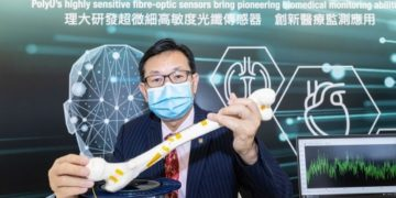 Professor Hwa-yaw TAM, Chair Professor of Photonics and Head of the Department of Electrical Engineering, PolyU, and his team made a research breakthrough by developing their novel fibre optic sensors based on an advanced plastic material, opening new possibilities for medical applications.